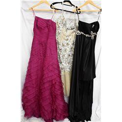 Lot [3] DRESSES:  [1] Yolanda Arce black dress, size 10, [1] Jovani silver dress, size 10 and [1] St
