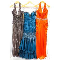 Lot [3] DRESSES:  [1] Stephen Yearick charcoal dress, size 6, [1] Stephen Yearick dark teal dress, s