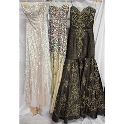 Lot [3] DRESSES:  [1] Jovani silver and nude gown, size 6, [1] Jovani multi jewel gown, size 6 and [