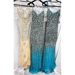 Lot [3] DRESSES:  [1] Jovani nude and silver beaded gown, size 2, size [1] Musani blue and silver go
