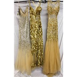 Lot [3] DRESSES:  [1] Jovani one shoulder sheer gown, size 2, [1] Jovani sequin gown, size 0 and [1]