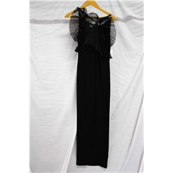 St. Thomas black halter fan pleated gown, size 2