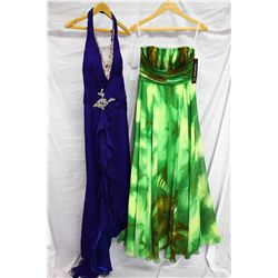 Lot [2] DRESSES:  [1] Green dress, size 4 and [1] Sapphire dress, size 4