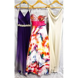 Lot [3] DRESSES:  [1] Jovani purple gown, size 6, [1] Favaina white print gown, size 6 and [1] ABS i
