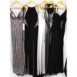 Lot [5] DRESSES:  [1] Faviana silver dress, size 6, [1] Jovani sheer detailed dress, size 6, [1] Sil