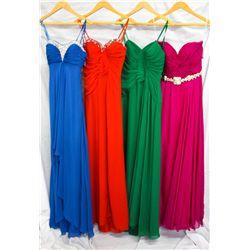 Lot [4] DRESSES:  [1] Faviana turquoise dress, size 8, [1] Faviana red dress, size 8, [1] Faviana gr