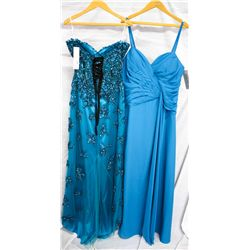 Lot [2] DRESSES:  [1] Turquoise strapless flower dress, size 14 and [1] Faviana turquoise dress, siz