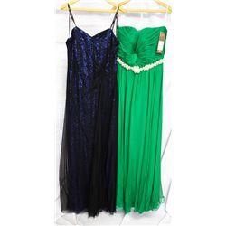 Lot [2] DRESSES:  [1] Jovani emerald green dress, size 16 and [1] Faviana strapless dress, size 16