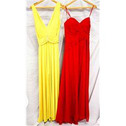 Lot [2] DRESSES:  [1] Yolanda Arce yellow dress, size 6 and [1] Faviana red dress, size 16