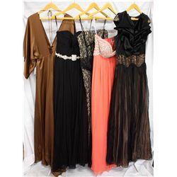 Lot [5] DRESSES:  [1] Yolanda Arce brown dress, size 10, [1] Jovani black dress, size 10, [1] ABS bl