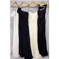 Lot [4] DRESSES:  [1] Faviana ivory dress, size 8, [1] Yolanda Arce one shoulder dress, size 8, [1]