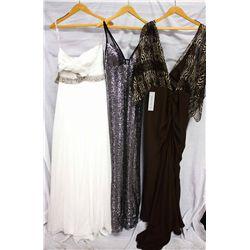 Lot [3] DRESSES:  [1] Jovani white one strap dress, size 8, [1] Faviana silver dress, size 8 and [1]