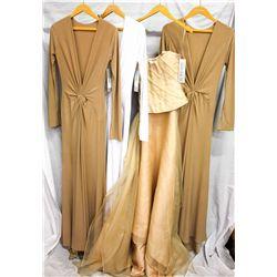 Lot [4] DRESSES:  [1] Juan Carlos Pinera nude dress, size Small, [1] Juan Carlos Pinera white dress,
