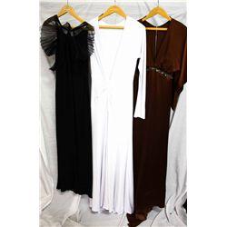 Lot [3] DRESSES:  [1] St. Thomas black gown, size 6, [1] Juan Carlos Pinera long sleeve white dress,