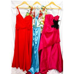 Lot [3] DRESSES:  [1] Faviana red gown, size 12W, [1] Yolanda Arce turquoise dress, size Small and [