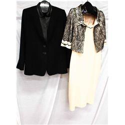 Lot [2] PIECES:  [1] Algo 100% Cashmere coat and [1] Musani 2 pc dress, size 12