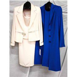 Lot [2] PIECES:  [1] Musani 2 pc dress, size 12 and [1] Algo blue cashmere coat, size 12