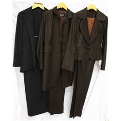 Lot [3] PIECES:  [1] Louise 2 pc jacket and long skirt, size 8, [1] Louise pinstripe jacket and pant