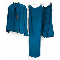Lot [3] PIECES:  [1] Louise teal skirt, size 8, [1] Louise teal pants, size 8 and [1] Louise teal ja