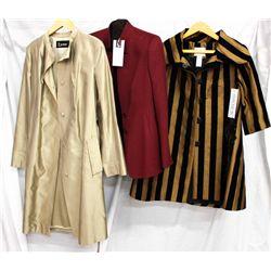 Lot [3] PIECES:  [1] Louise bronze wrap coat, size Medium, [1] 100% cashmere coat, size 8 and [1] Ve