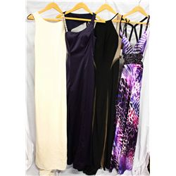 Lot [4] DRESSES:  [1] Yolanda Arce ivory bridal gown, size 4, [1] Faviana navy gown, size 4, [1] Jov