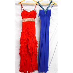 Lot [2] DRESSES:  [1] Faviana red dress, size 4 and [1] Faviana royal blue dress, size 4