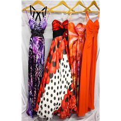 Lot [4] DRESSES:  [1] Faviana purple/black dress, size 0, [1] Faviana polka dot dress, size 0, [1] F