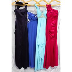 Lot [4] DRESSES:  [1] Faviana navy gown, size 0, [1] Faviana one shoulder royal blue dress, size 0,