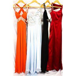 Lot [4] DRESSES:  [1] Faviana tangerine dress, size 0, [1] One shoulder gown, size 0, [1] Faviana op