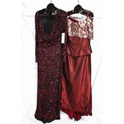 Lot [2] DRESSES:  [1] Badgley Mischka sequins dress, size 12 and [1] Rose Taft 100% silk wine color