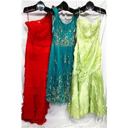Lot [3] DRESSES:  [1] St. Thomas one shoulder red gown, size 10, [1] YSA tea length emerald dress, s