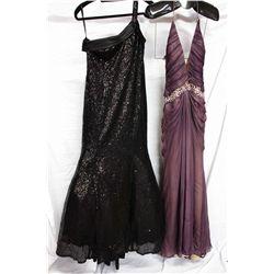 Lot [2] DRESSES:  [1] Stephen Yearick black dress, size 8 and [1] Stephen Yearick deep v dress, size