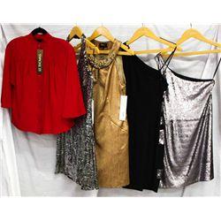 Lot [6] PIECES:  [1]  Drew red blouse, size XS, [1] ABS halter dress, size XS, [1] Alex Admor bronze