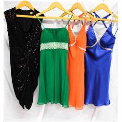 Lot [4] DRESSES:  [1] Black drape sequins dress, size 2, [1] Faviana green strapless dress, size 2,