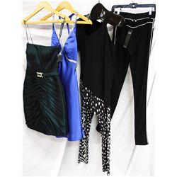 Lot [4] PIECES:  [1] Plein Sud Jeanius leggings, size 4, [1] JustCavalli one shoulder black jersey t