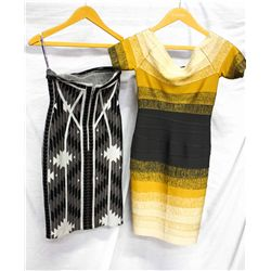 Lot [2] DRESSES:  [1] Musani gold dress and [1] Black and grey print dress