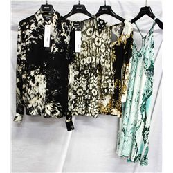 Lot [4] PIECES:  [1] JustCavalli print blouse, size 4, [1] JustCavalli long sleeve print top, size S