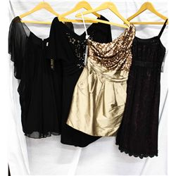 Description Change:Lot [4] DRESSES:  [1] Badgley Mischka black dress, size 4, [1] Jade black dress,