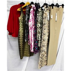 Lot [8] PIECES:  [1] Moschino taupe dressing trousers, size 46, [1] JustCavalli ivory snake print je