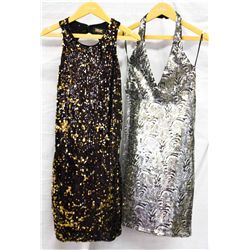 Lot [2] PIECES:  [1] Alex Admor multi sequins dress, size Medium and [1] ABS halter dress, size Medi