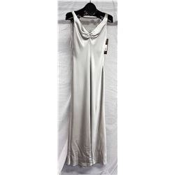 ABS silver gown with back detail, size 2