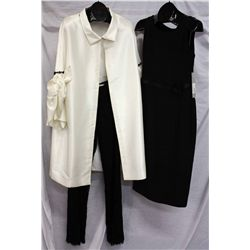 Lot [2] PIECES:  [1] Louise black dress, size 4, [1] Ivory knee coat, size 4 with pants