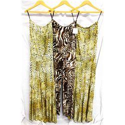 Lot [3] PICES:  [2]  Yolanda Arce leopard print dress, size Small, [1] Yolanda Arce leopard print pa