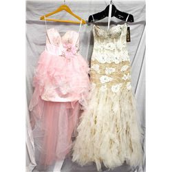 Lot [2] DRESSES:  [1] Jovani white/nude gown, size 6 and [1] Jovani pink gown, size 6