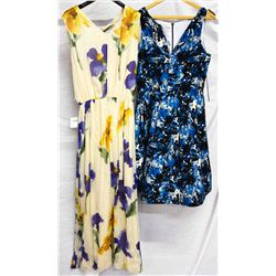 Lot [2] DRESSES:  [1] Louise flared dress , size 8 and [1] Moschino flower print dress, siz
