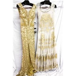 Lot [2] DRESSES:  [1] Gold dress, size 12 and [1] Hoss nude gown, size 12