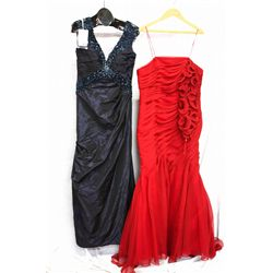 Lot [2] DRESSES:  [1] Navy dress, size 14 and [1] St. Thomas red dress, size 14