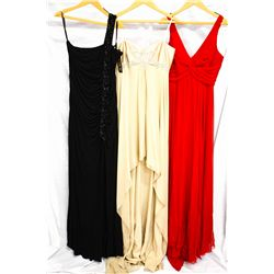 Lot [3] DRESSES:  [1] Yolanda Arce black gown, size 8, [1] Yolanda Arce red gown, size 8 and [1] Yol