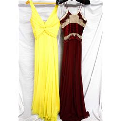 Lot [2] DRESSES:  [1] Yolanda Arce yellow dress, size Small and [1] Badgley Mischka wine dress, size