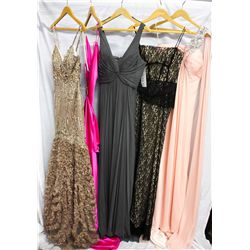 Lot [5] DRESSES:  [1] Mocha full gown, size 6, [1] Hot pink silk dress, size Medium, [1] Twist chiff